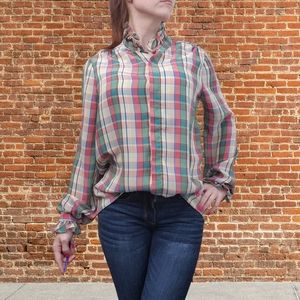 Vintage red green plaid ruffle neck blouse
